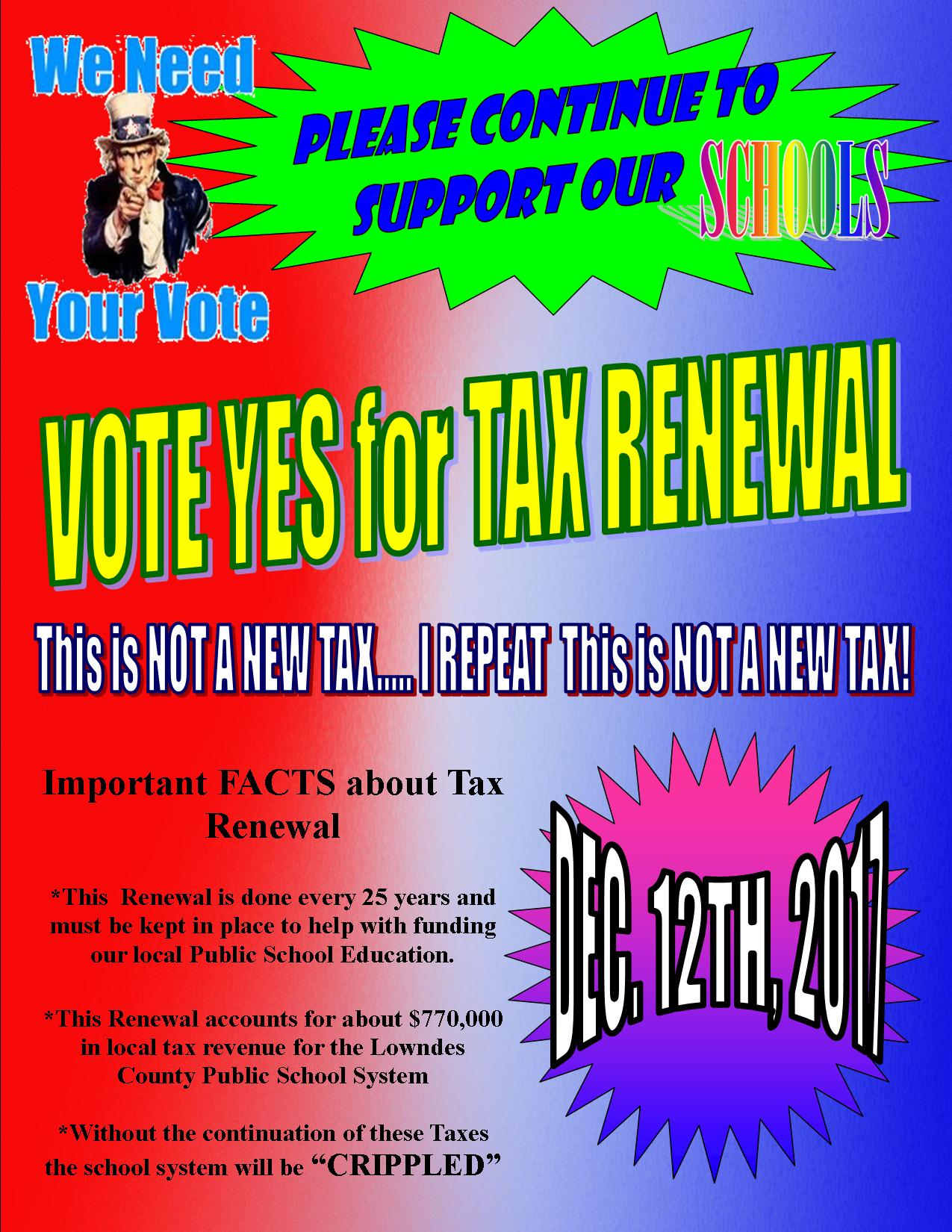 VOTE YES FOR TAX RENEWAL